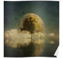Surrealistic landscape with yellow birch and full moon Poster