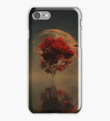 Surrealistic landscape with red mapple and full moon iPhone Case/Skin