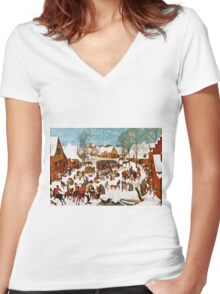 Pieter Bruegel the Elder - Massacre of the Innocents (1565 - 1567)  Women's Fitted V-Neck T-Shirt