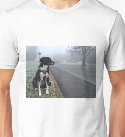 Max the Dog in the Fog Unisex T-Shirt
