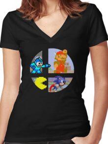Smash Bros.: Big 4 Women's Fitted V-Neck T-Shirt