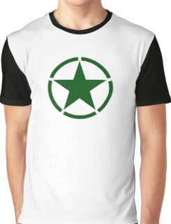 ARMY, Army Star & Circle, Roundel, Jeep, War, WWII, America, American, USA, in GREEN Graphic T-Shirt
