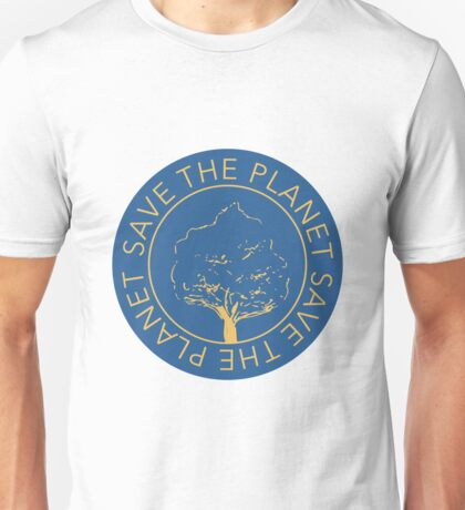 Save the planet hand drawn lettering on clean white background. Retro style calligraphy, motivational phrase for Earth day. For greeting card, logo, badge, print, poster, party designs. Unisex T-Shirt