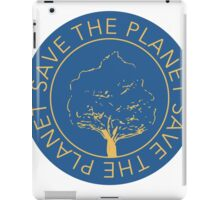 Save the planet hand drawn lettering on clean white background. Retro style calligraphy, motivational phrase for Earth day. For greeting card, logo, badge, print, poster, party designs. iPad Case/Skin