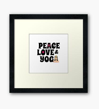 Peace, Love, Yoga Case - Burgundy Framed Print