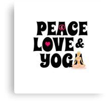 Peace, Love, Yoga Case - Burgundy Canvas Print