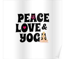 Peace, Love, Yoga Case - Burgundy Poster