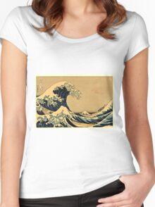 Katsushika Hokusai - The Great Wave Off the Coast of Kanagawa 19th century Women's Fitted Scoop T-Shirt