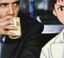 obama and shinji Sticker