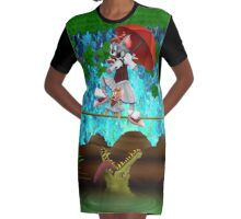 Cute halloween The Cat, Mouse and crocodile Deadly circus Graphic T-Shirt Dress