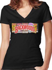 BACKWOODS HIPHOP VINTAGE SHIRT Women's Fitted V-Neck T-Shirt