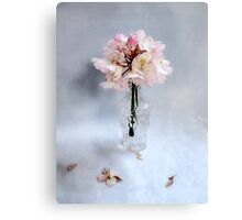 Rhododendron Bloom in a Glass Bottle Canvas Print