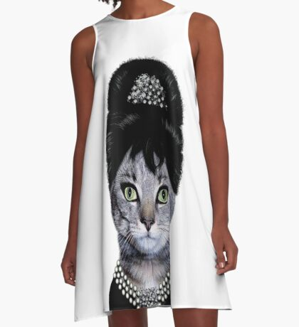 hepburn cat @_@# A-Line Dress
