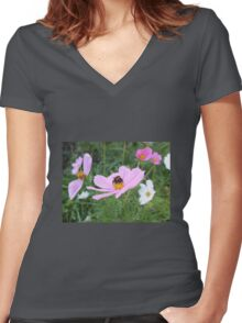 Bumble Bee on Cosmos Flower Women's Fitted V-Neck T-Shirt