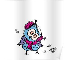 cute owl wearing a warm scarf Poster