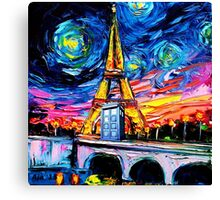 tardis starry night in the paris Canvas Print