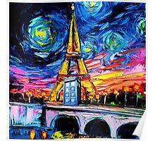 tardis starry night in the paris Poster