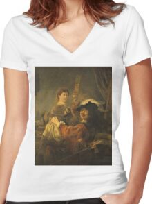 Rembrandt - Rembrandt And Saskia In The Scene Of The Prodigal Son Women's Fitted V-Neck T-Shirt