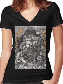 She Was A Haunted House Women's Fitted V-Neck T-Shirt