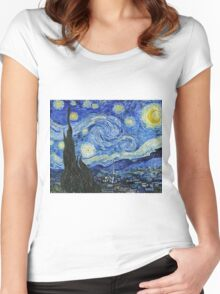 Vincent Van Gogh -  Starry Night 1889  Women's Fitted Scoop T-Shirt