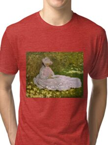 Claude Monet - Springtime (1872)  Tri-blend T-Shirt
