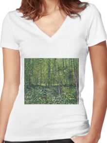 Vincent Van Gogh - Trees And Undergrowth, July 1887 - 1887  Women's Fitted V-Neck T-Shirt