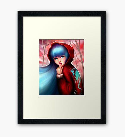 Red Riding Hood - Skater Girl in Forest Framed Print
