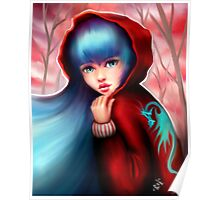 Red Riding Hood - Skater Girl in Forest Poster