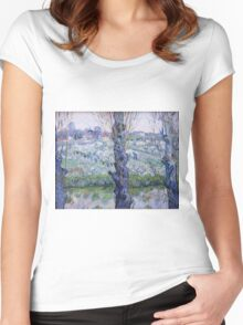 Vincent Van Gogh - Orchard In Bloom With Poplars, 1889 Women's Fitted Scoop T-Shirt
