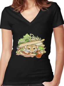 Panini Sandwich Women's Fitted V-Neck T-Shirt