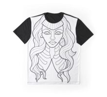 Neo-Traditional Rib Lady outline Graphic T-Shirt