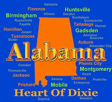 Colorful Alabama State Pride Map by KWJphotoart