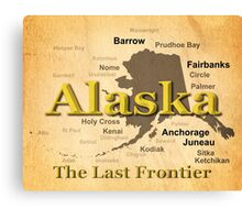 Aged Alaska State Pride Map Silhouette  Canvas Print