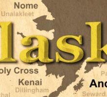 Aged Alaska State Pride Map Silhouette  Sticker