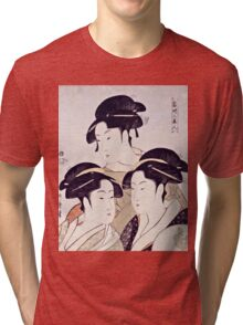 Kitagawa Utamaro  -  Three Beauties Of The Present Day  Tri-blend T-Shirt