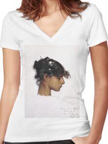 John Singer Sargent - Head Of A Capri Girl  Women's Fitted V-Neck T-Shirt