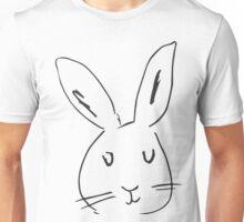 Rabbit on white background. Cute rabbit cartoon.  Unisex T-Shirt