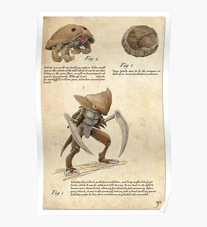 Pokemon Zoography: Kabutops Poster