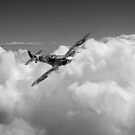 Spitfire above clouds B&W version by Gary Eason