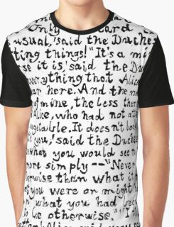 Alice in Wonderland text print, Lino cut printed text pattern for book lovers Graphic T-Shirt