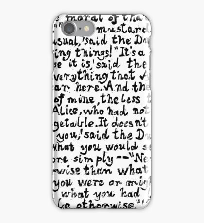 Alice in Wonderland text print, Lino cut printed text pattern for book lovers iPhone Case/Skin