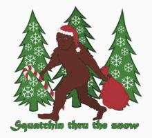 Squatchin Thru The Snow Funny Christmas Bigfoot One Piece - Short Sleeve