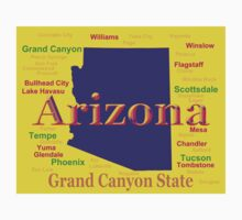 Colorful Arizona State Pride Map Silhouette  Kids Clothes