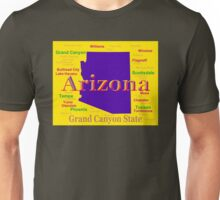 Colorful Arizona State Pride Map Silhouette  Unisex T-Shirt