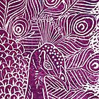 Peacock Linocut in Purple by Adam Regester