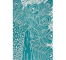 Peacock Linocut in Teal Photographic Print