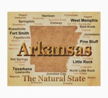 Aged Arkansas State Pride Map Silhouette  Baby Tee
