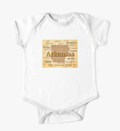 Aged Arkansas State Pride Map Silhouette  One Piece - Short Sleeve