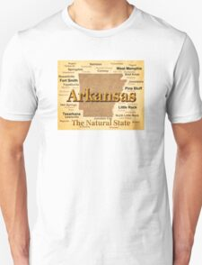Aged Arkansas State Pride Map Silhouette  T-Shirt