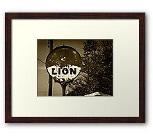 Abandoned Lion Service Station Sign Framed Print